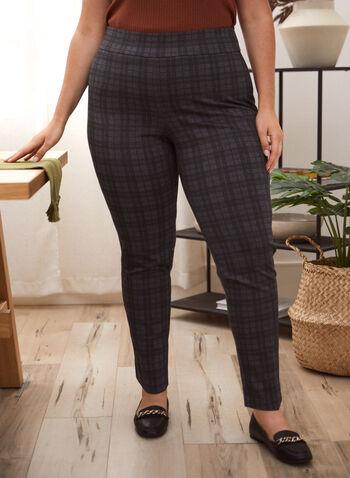 Pantalon pull-on à motif tartan , Gris,  pantalon, motif, tartan, jambe étroite, tricot, point de Rome, automne hiver 2020