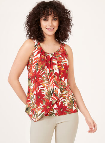 Asymmetric Floral Leaf Print Blouse, Green, hi-res