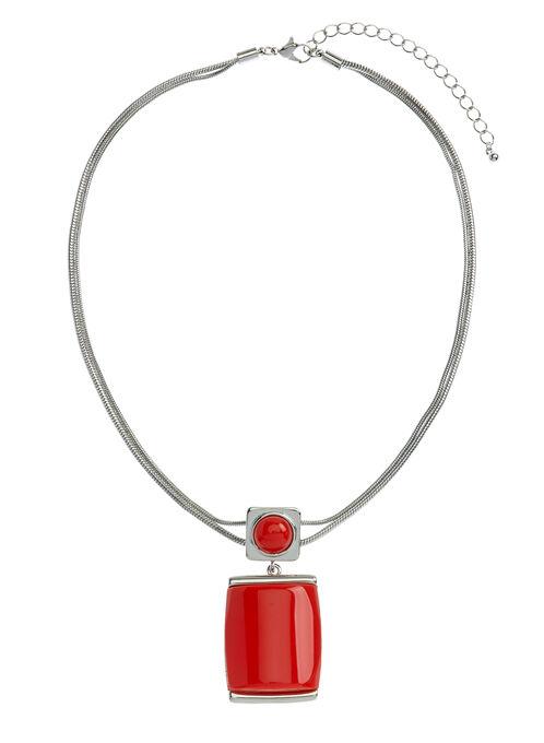 Collier double rang avec pendentif géométrique, Rouge, hi-res