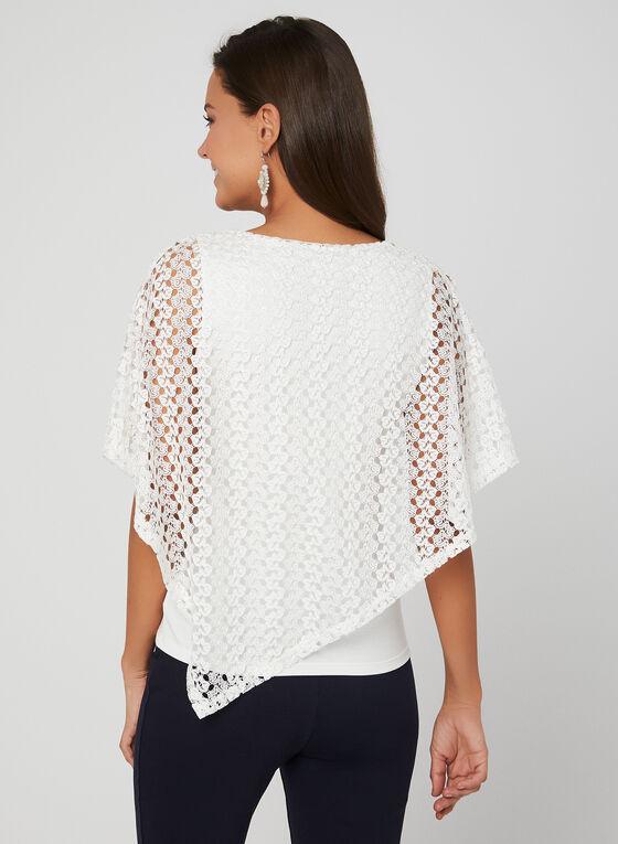 Haut avec poncho en crochet superposé, Blanc