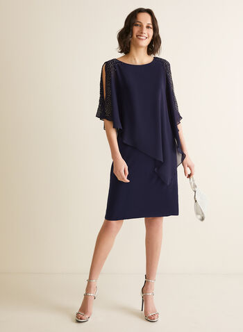 Pearl Detail Poncho Dress, Blue,  dress, poncho, chiffon, jersey, pearls, scoop neck, asymmetric, spring summer 2020