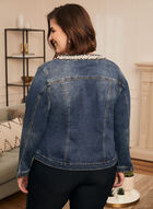 Embellished Open Front Denim Jacket, Blue