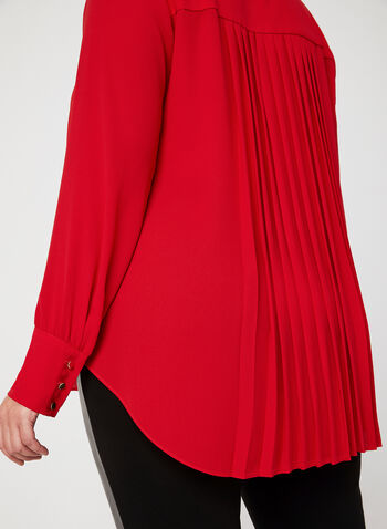 Frank Lyman - Button Down Tunic Blouse, Red, hi-res