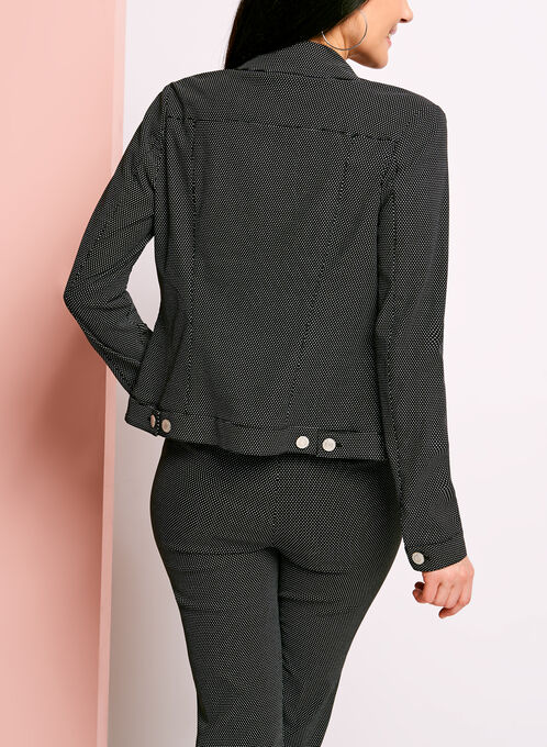 Dot Print Notch Collar Jacket, Blue, hi-res