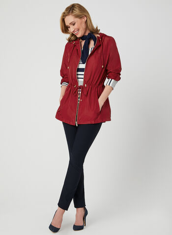 Hooded Packable Anorak, Red, hi-res