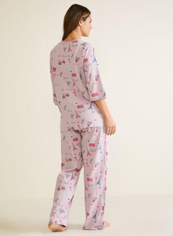 Ensemble pyjama 2 pièces motif Paris , Violet