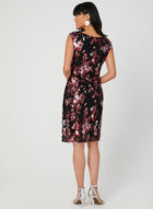 Metallic Floral Print Dress, Black