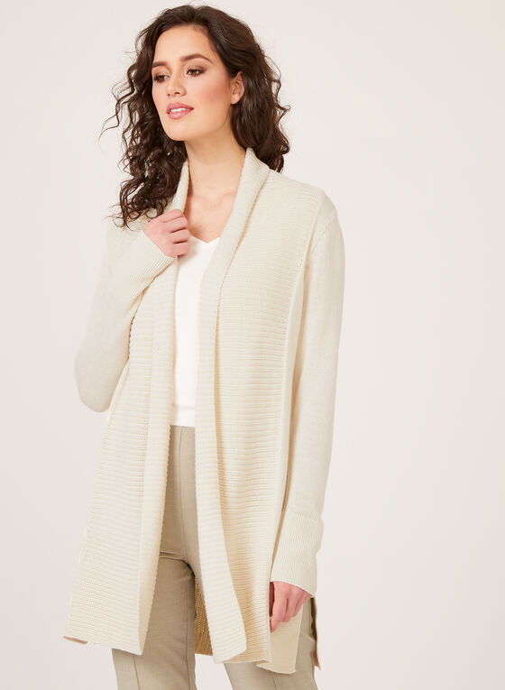 Open Front Shawl Neck Cardigan, Off White, hi-res