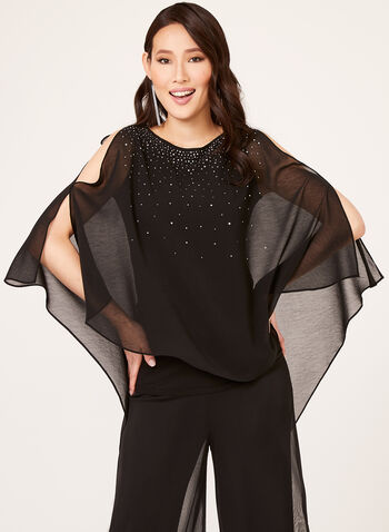Crystal Embellished Chiffon Blouse, Black, hi-res