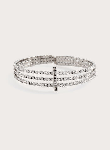Three Row Crystal Bracelet , Silver, hi-res