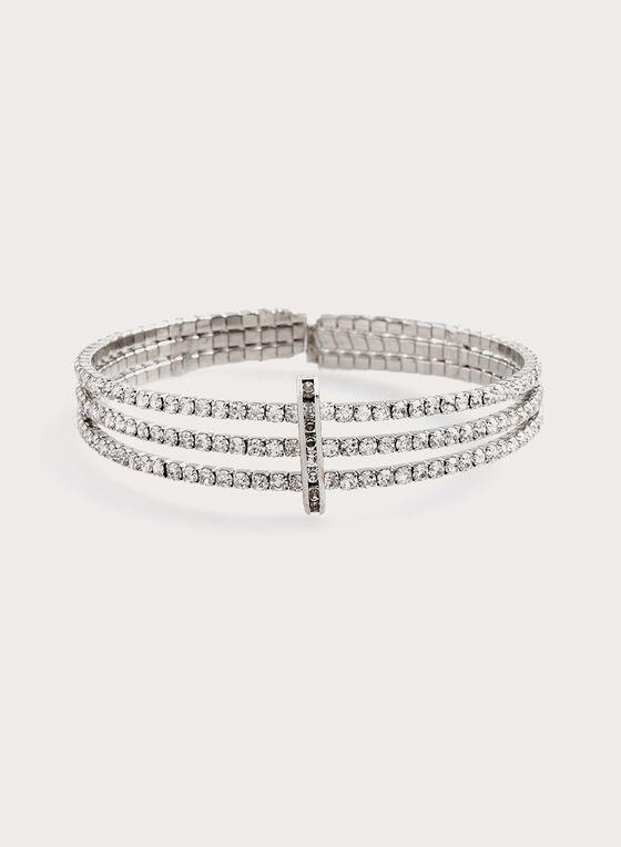 Bracelet à cristaux transparents, Argent, hi-res