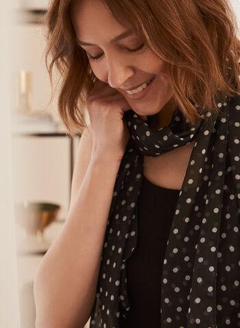 Polka Dot Print Lightweight Scarf, Black,  scarf, lightweight, chiffon, polka dot, spring summer 2021