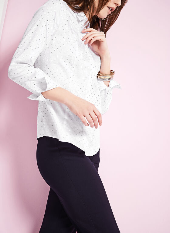 Long Sleeve Dot Print Shirt, White, hi-res