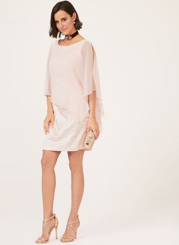 Brocade Print Poncho Dress, Pink, hi-res