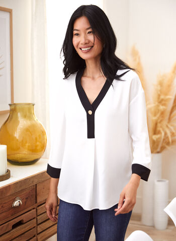 Contrast Detail V-Neck Blouse, Off White,  fall winter 2021, 3/4 sleeves, v neck, blouse, top, shirt, contrast, detail, button, band, cuff, rounded hem, light, flowy,