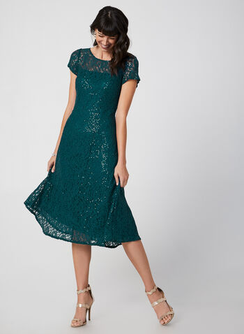 Fit & Flare Sequin Lace Dress, Green,  lace cocktail dress, midi dress