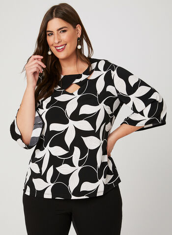 Leaf Print Angel Sleeve Blouse, Black, hi-res