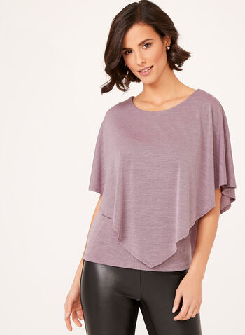 Jersey Knit Poncho Top, Purple, hi-res