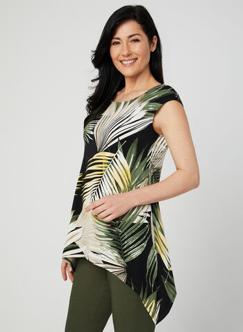 Tropical Print Top, Black, hi-res
