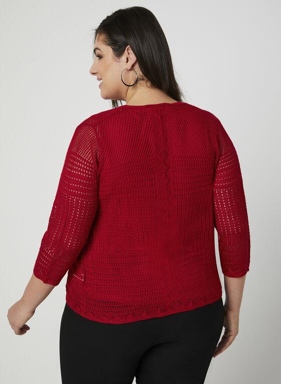 Cardigan en tricot pointelle, Rouge