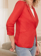 Linen Blend Gathered Sleeve Jacket, Orange