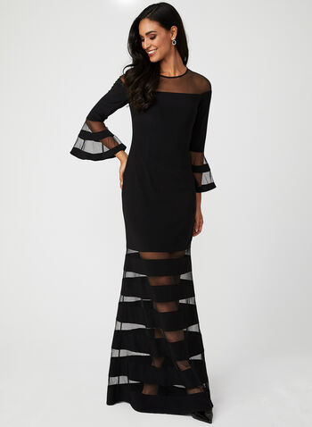 Illusion Neckline Dress, Black, hi-res
