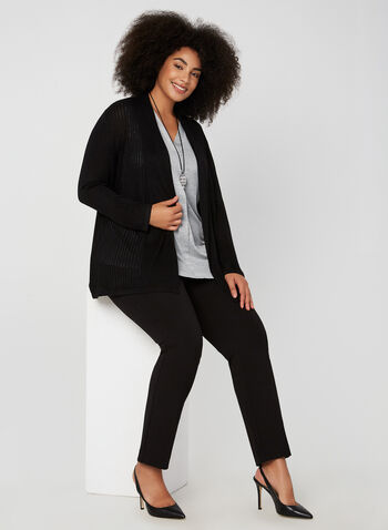 Open Front Knit Cardigan, Black, hi-res,  cardigan, open front, knit, long sleeves, pointelle, fall 2019, winter 2019
