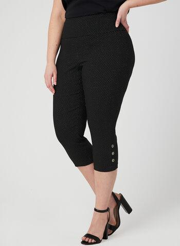 Polka Dot Print Capri Pants, Black, hi-res,