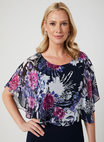 Floral Print Poncho Dress, Purple,  poncho, dress, floral print, jersey, spring 2019