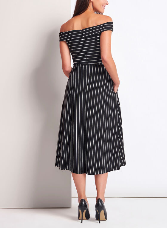 Stripe Off The Shoulder Midi Dress, Black, hi-res