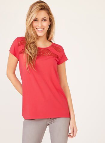 Capped Sleeve Lace Detail Top, Pink, hi-res