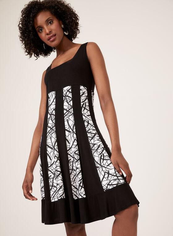Robe sans manches avec bandes verticales à motif, Noir, hi-res