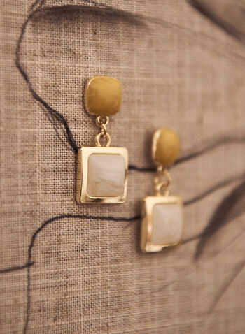 Geometric Stone Dangle Earrings, Gold,  spring summer 2021, jewellery, jewelry, accessories, earings, dangle, geometric, stone, two tier, rounded square, golden, pushback