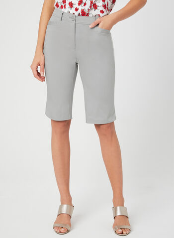 Modern Fit Bermuda Shorts, Grey, hi-res,  walking shorts, sateen, spring 2019