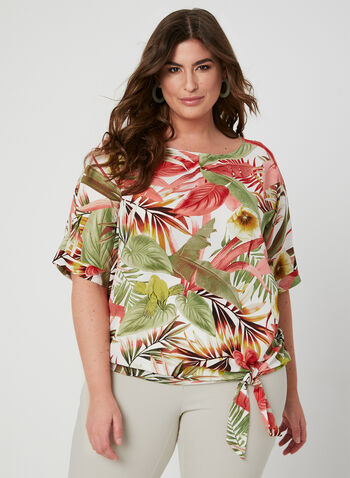 Palm Leaf Print Top, White, hi-res