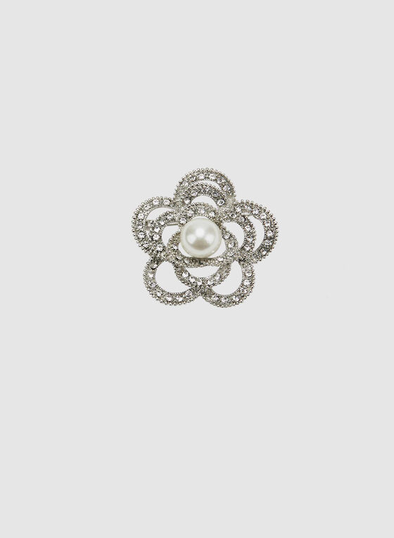 Broche florale à pierres du Rhin et perle, Blanc cassé, hi-res