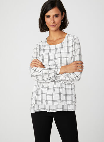 Window Pane Print Blouse, White, hi-res