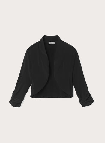 Shirred Sleeve Bolero, Black, hi-res