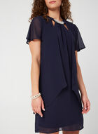 Pearl Detail Chiffon Dress, Blue