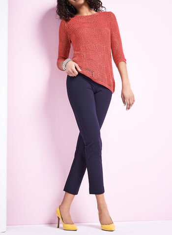Pantalon pull-on en tricot point de Rome, Bleu, hi-res
