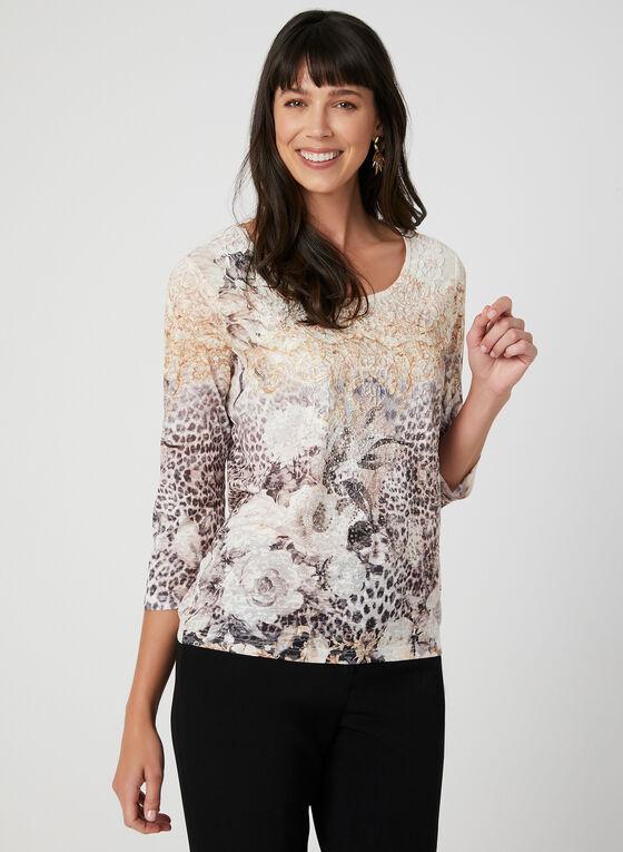 T-shirt fleuri à détail crochet, Blanc, hi-res