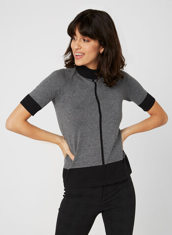 Elbow Sleeve Knit Top, Grey, hi-res