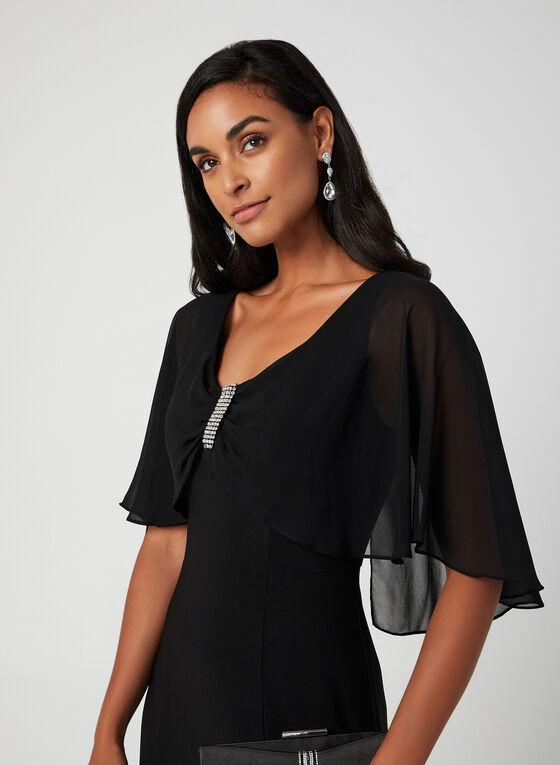 Robe avec cape en mousseline , Noir