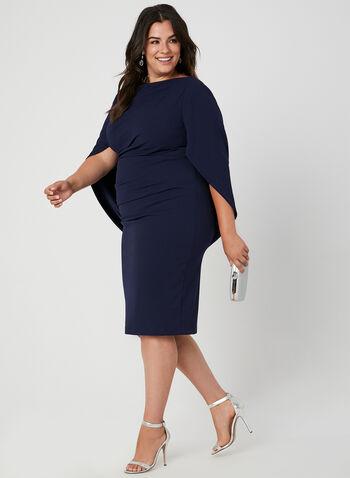 Robe à drapé style cape, Bleu, hi-res,  robe cocktail, drapé, cape, plis, crêpe, automne hiver 2019