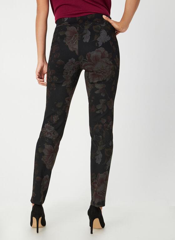 Pantalon coupe moderne à fleurs, Noir