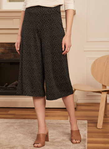 Dotted Print Gaucho Pants, Black,  pants, gaucho, pull-on, dot, jersey, wide leg, spring summer 2020
