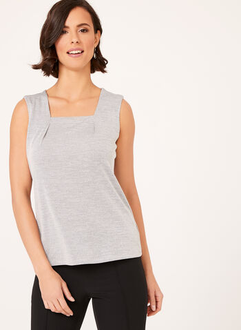 Square Neck Jersey Knit Top, , hi-res