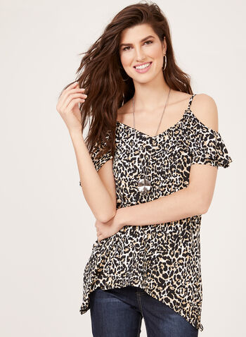Enough About Me - Leopard Print Cold Shoulder Top, Brown, hi-res