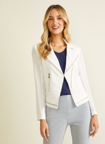 Vex - Zipper Detail Linen-Like Blazer, White,  blazer, notch collar, linen, zipper, long sleeves, spring summer 2020