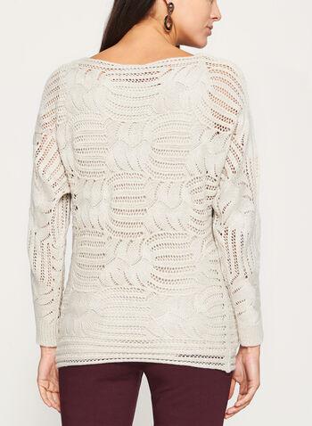 Pull tricoté en lurex à manches dolman, Blanc cassé, hi-res